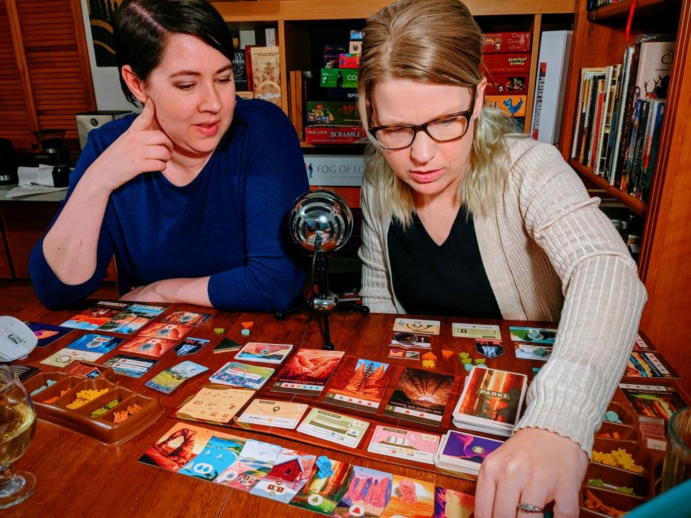 Betsy and Meghan Playing a board game